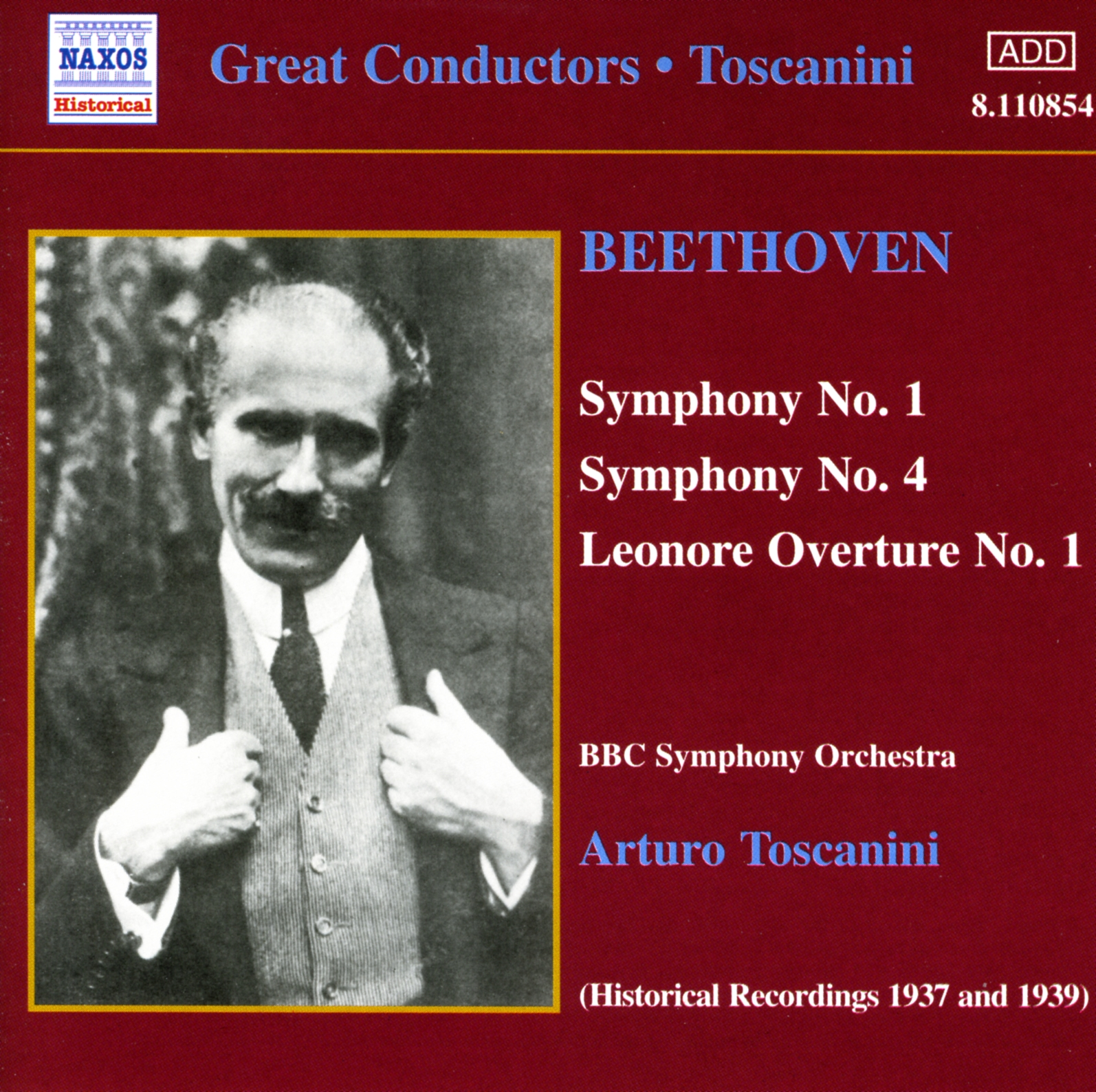 BEETHOVEN: Symphonies 1 and 4 (Toscanini) Classical Naxos