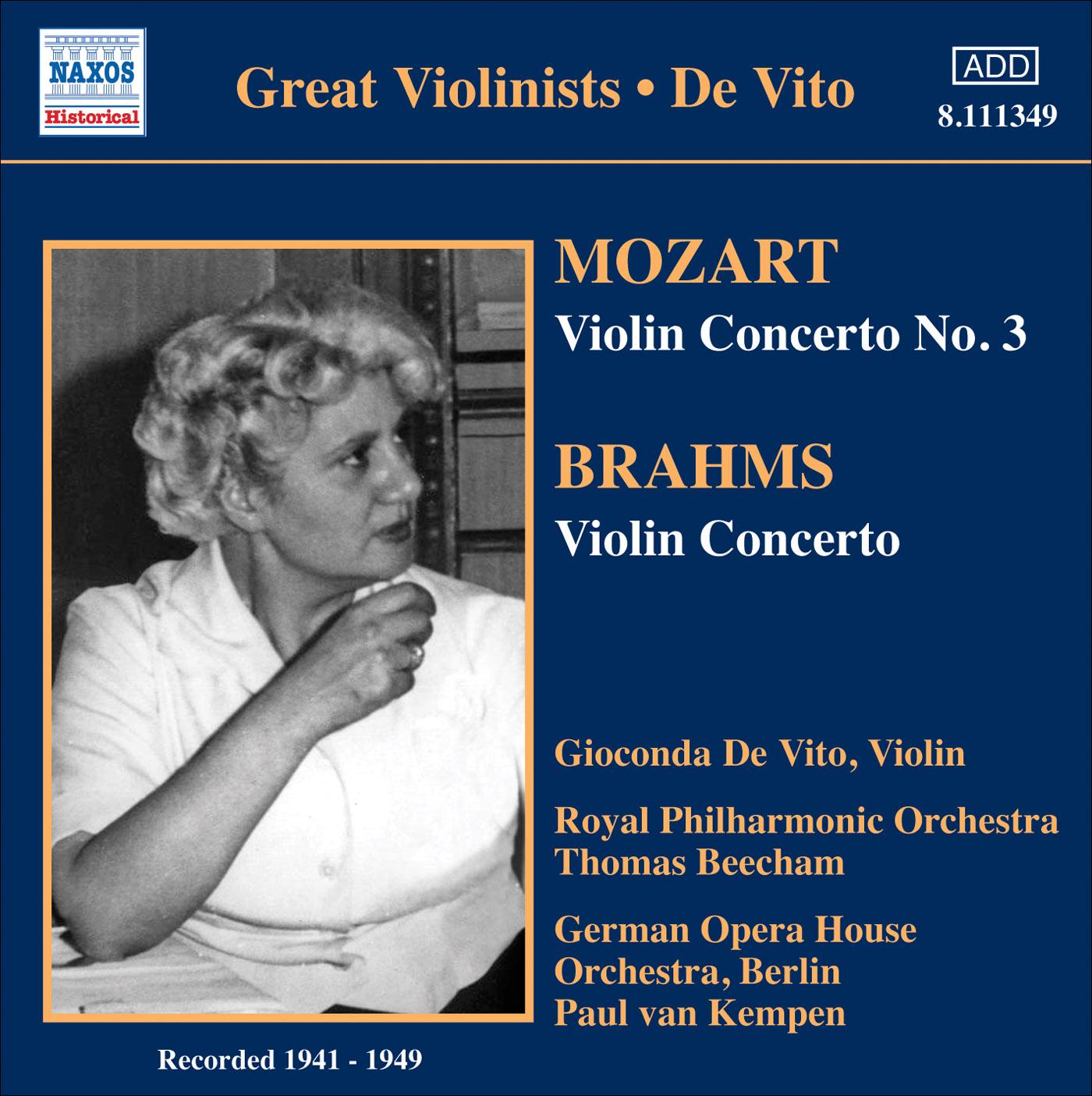 MOZART, W A : Violin Concerto No  3 / BRAHMS, J : Violin