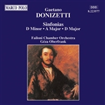 DONIZETTI: Sinfonias in D Minor, A Major and D Major