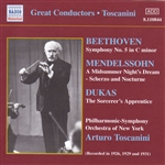 BEETHOVEN:Symphony No. 5 /  MENDELSSOHN: A Midsummer Night's Dream (Toscanini) (1926, 1929, 1931)