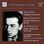 BRAHMS, J.: Symphony No. 1 /  BEETHOVEN, L.: Leonore Overture No. 3 / STRAUSS, R.: Salome: Dance of the Seven Veils (Karajan) (1943)